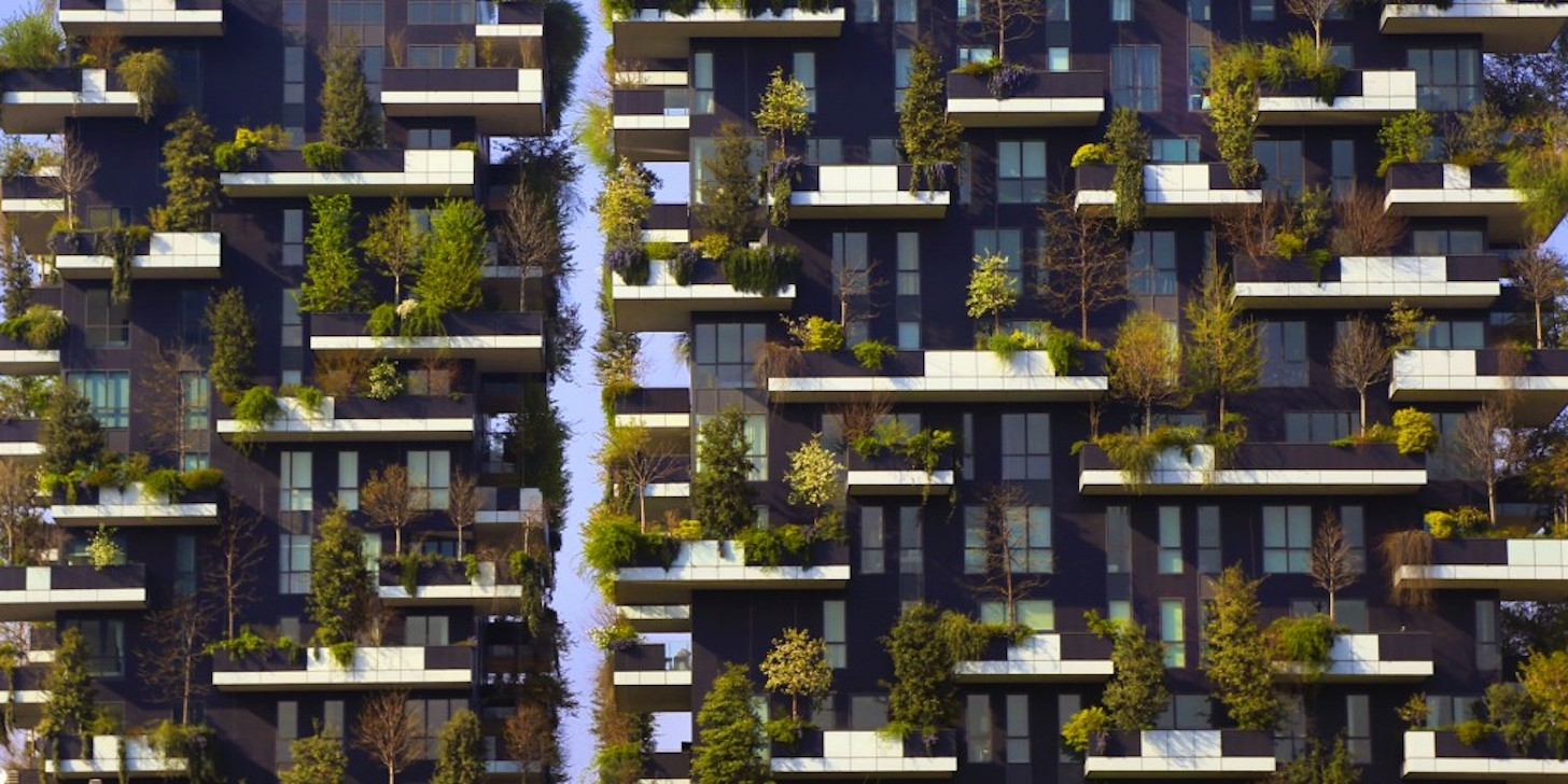 Modern residantial district Bosco Verticale in Milan
