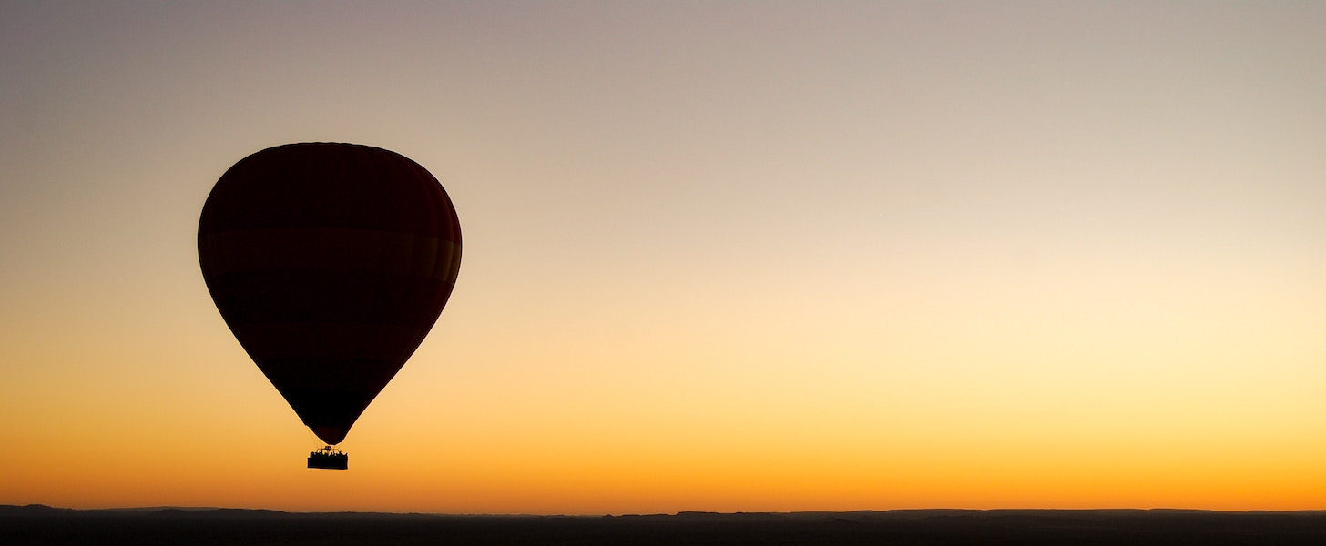 Hot air balloon and sunset