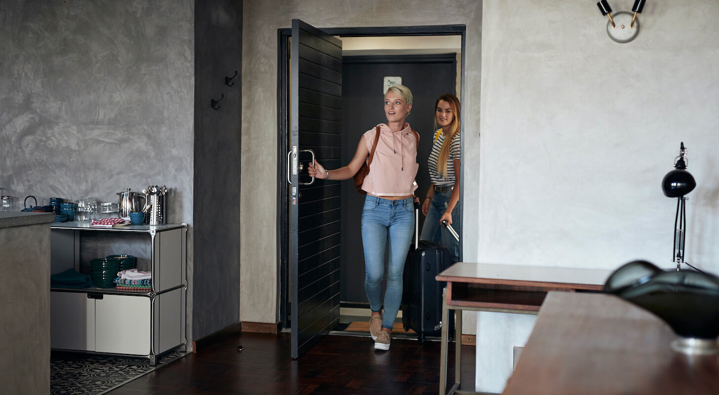 Guests entering a property