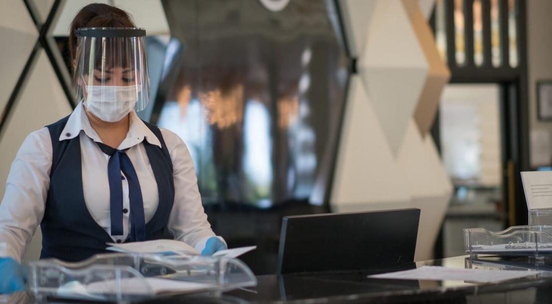 Hotel staff wearing mask
